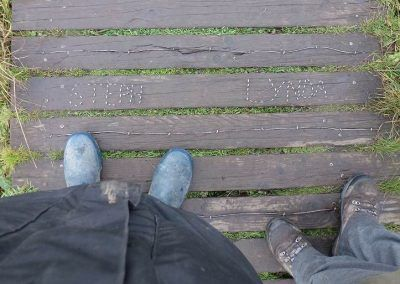 Names stapled into the walkway