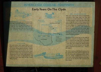 A sign detailing the early years of the Clyde