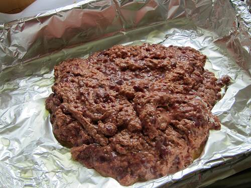 Liver cake mixture in baking tray