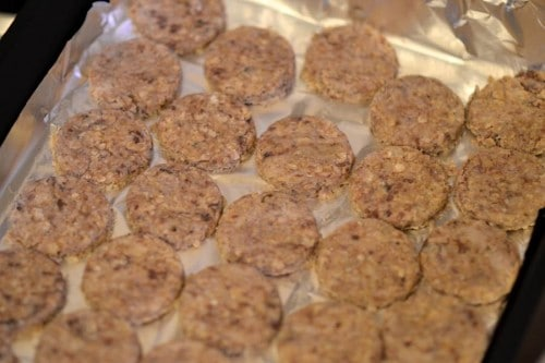 place dog biscuits on baking tray
