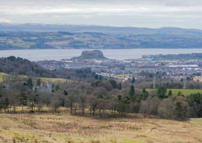 The view from Lang Craigs.  You can easily see Dumbarton Rock and behind it Langank