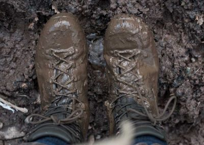 So we cross the burn by foot and jeez is it muddy!