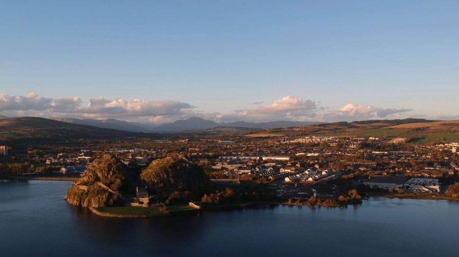 dumbarton rock as seen from a drone