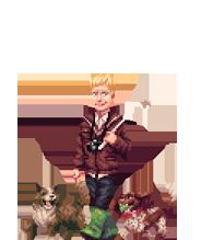 pixel art dog walker