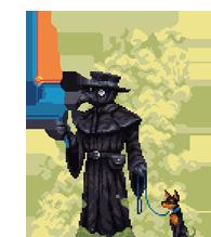 pixel art plague doctor and dog