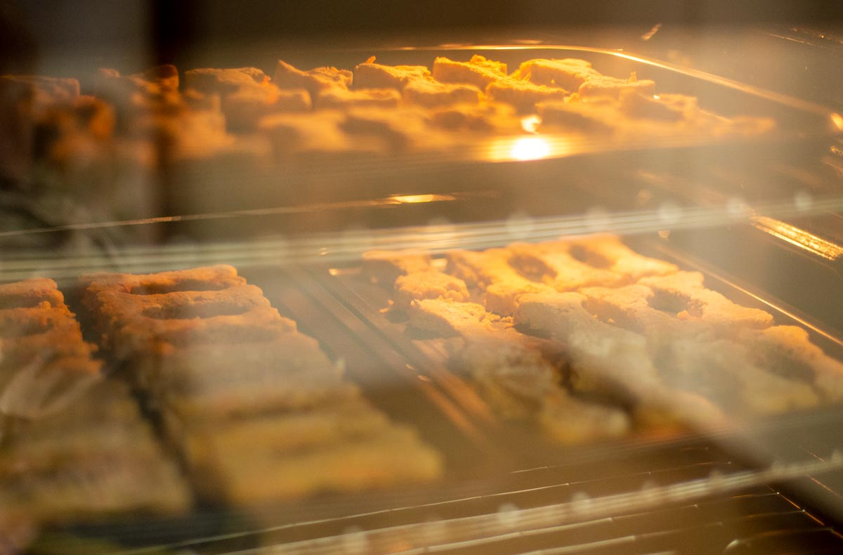 dog biscuits in oven
